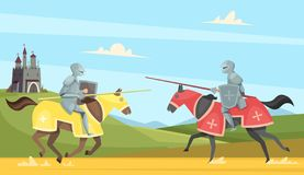 Knights tournament. Medieval chivalry prince in brutal armour helmet warriors on horse vector cartoon background. Chivalry warrior on horse, tournament vector illustration