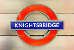 Knightsbridge sign in London underground Stock Images