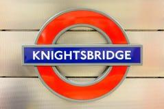 Knightsbridge sign in London underground Stock Images