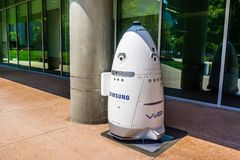 Knightscope security robot branded with the Samsung logo. August 9, 2018 Mountain View / CA / USA - Knightscope security robot branded with the Samsung logo stock photography