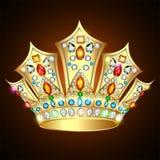 Königliche glänzende Krone der Illustration Goldmit Edelsteinen und Juden Stockfotos