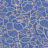 Königliches nahtloses Muster der Blumen und der Blätter Lizenzfreie Stockbilder