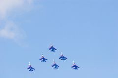 The Knigths in rolling. Aerobatic team - Russian Knights- SU27 Stock Photos