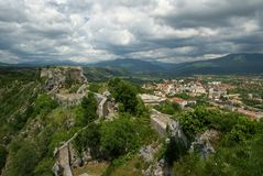 Knin fortress and the town of Knin Royalty Free Stock Photography