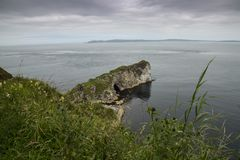 Kninbane head antrim coast north ireland. Famous landmark on north antrim coast stock photo