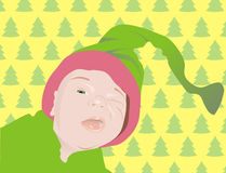 Knipogende baby in de hoed Stock Fotografie