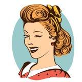 Knipogende jonge die vrouw in retro kleren op wit wordt geïsoleerd royalty-vrije illustratie