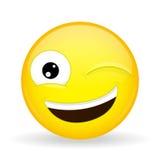 Knipoog emoji Gelukkige emotie Wenk emoticon De stijl van het beeldverhaal Het vectorpictogram van de illustratieglimlach Stock Foto