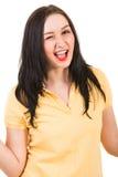 Knipperende gelukkige vrouw Stock Foto's