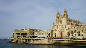 Knisja tal-Karmnu, Spinola Bay, Tas-Sliema, Malta Stock Photography