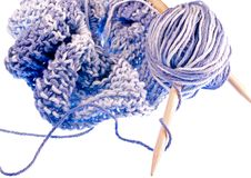 Knit Afghan. Soft baby blue knit afghan stock photos