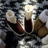Knit baby booties Stock Image
