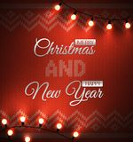 Knit background with geometric ornament with metallic merry christmas and happy new year text illuminated light bulbs. Vector xmas Royalty Free Stock Images