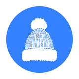Knit cap icon isolated on white background. Ski resort symbol  Stock Images