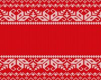 Knit christmas design. Geometric seamless pattern.. Xmas red background with empty space for text. Red knitted sweater texture. Vector illustration Royalty Free Stock Image