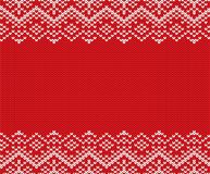 Knit christmas geometric ornament design with empty space for text. Xmas seamless pattern. Knitted winter red color sweater texture. Vector illustration Stock Photography