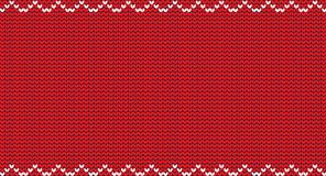 Knit christmas red background with empty space for text and white zig zag pattern. Vector illustration, template, border for design Stock Images