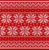 Knit Christmas seamless pattern. Knitted scandinavian texture. V. Knit scandinavian design. Christmas seamless pattern. Vector Xmas red background. Knitted Stock Photos