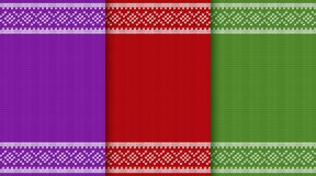 Knit Christmas seamless pattern. Knitting Christmas texture. Knit seamless pattern. Vector graphics. Xmas jumper ornaments. New year red, green and purple Royalty Free Stock Photography