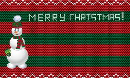 Knit christmas template with snowman. Xmas striped red and green background. With empty space for text and merry christmas title. Vector illustration, template Royalty Free Stock Images