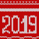 Knit design 2019. Christmas knitting seamless pattern. Vector Xmas and New year red background. Knitted winter texture. Holyday sw. Knit design 2019. Christmas vector illustration