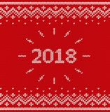 Knit Christmas seamless pattern. Knitted texture. Vector illustr. Knit design. Christmas seamless pattern. Vector Xmas and New year 2018 red background. Knitted Stock Photo