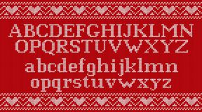 Free Knit Font On Christmas Knitted Background. Vector Illustration. Royalty Free Stock Photo - 105991845