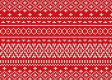 Knit geometric ornament design. Christmas seamless pattern. Knitted winter red color sweater texture. Vector illustration Royalty Free Stock Photo