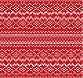 Knit geometric ornament seamless pattern. Handcraft knitwear design. Knitted winter red color sweater texture. Vector illustration Royalty Free Stock Photography