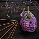 Knit handmade handbag from yarn stock photo