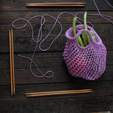 Knit handmade handbag from yarn royalty free stock image