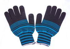 Knit-Handschuhe auf weißem Hintergrund Stockbild