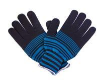 Knit-Handschuhe auf weißem Hintergrund Stockfoto