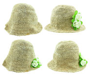 Knit hat with flower isolated on white background. Stock Photography