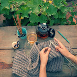 Knit man scarf for cold day Royalty Free Stock Images