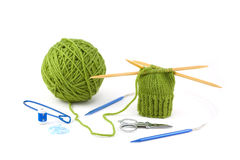Knit Mitten Project and Tools Stock Photo