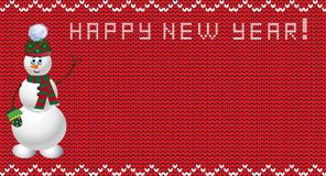 Knit new year design with snowman. Knit festive design with snowman. red background with empty space for text and happy new year title. Vector illustration Royalty Free Stock Photography