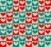 Knit pattern. Seamless knit pattern with hearts Royalty Free Stock Photography