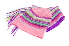 Knit scarf and cap on white background Stock Photography