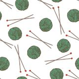 Knit Seamless Pattern. Green Yarn Balls and Needles on White Background Stock Photo