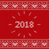 Knit seamless pattern. Knitted texture with inscription 2018. Ve. Knit design with inscription 2018. Christmas seamless pattern. Vector Xmas and New year red Stock Photo