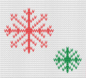 Knit seamless pattern with snowflakes. wool background. vector. Winter theme. Easy to relocate snowflakes Stock Photography