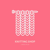 Knit shop line logo. Yarn store flat sign, illustration of knitting needles with yarn pattern.  Stock Photography