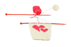 Knit two red heart Royalty Free Stock Images