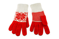 Knit Women's gloves Royalty Free Stock Images