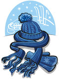 Knit wool scarf, mittens and hat Stock Photos