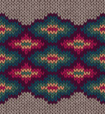 Knit Woolen Seamless Etnic Ornament Texture. Fabric Color Tracery Background Stock Photo