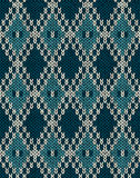 Knit woolen seamless jacquard ornament pattern Royalty Free Stock Images