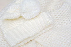 Knit woolen texture. Fabric beige background Royalty Free Stock Image