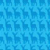 Knit yarn blue deer seamless pattern. This illustration is design and drawing deer silhouette in blue color yarn knit crochet in seamless pattern Stock Image
